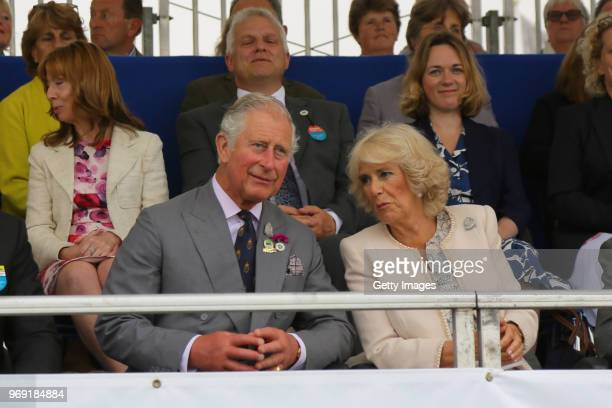 Prince Charles Prince of Wales and Camilla Duchess of Cornwall attend The Royal Cornwall Show at The Royal Cornwall Showground on June 7 2018 in...