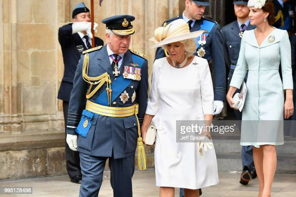 Prince Charles Prince of Wales and Camilla Duchess of Cornwall attend as members of the Royal Family attend events to mark the centenary of the RAF...