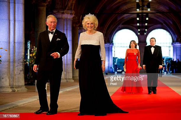 Prince Charles, Prince of Wales and Camilla, Duchess of Cornwall followed by President of the European Commission, Jose Manuel Barroso, and his wife...