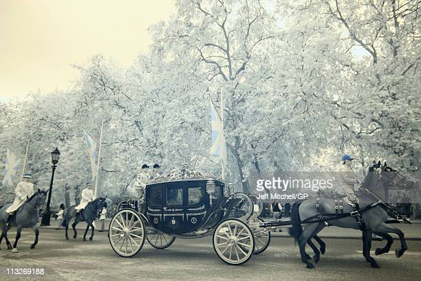 Prince Charles Prince of Wales and Camilla Duchess of Cornwall depart the Royal Wedding of Prince William to Catherine Middleton at Horse Guards on...