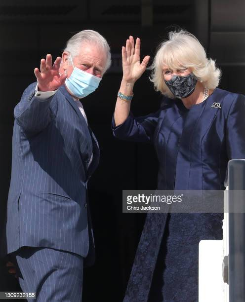 Prince Charles, Prince of Wales and Camilla, Duchess of Cornwall depart Athens International Airport on the RAF Voyager on March 25, 2021 in Athens,...