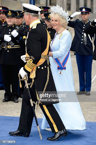 Prince Charles Prince of Wales and Camilla Duchess of Cornwall depart the Nieuwe Kerk to return to the Royal Palace after the abdication of Queen...