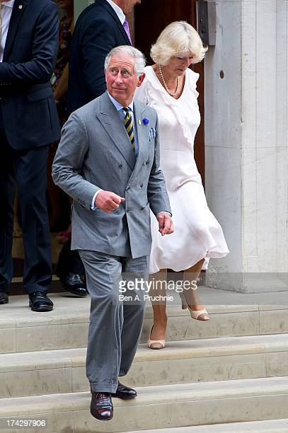 Prince Charles Prince of Wales and Camilla Duchess of Cornwall depart The Lindo Wing after visiting Catherine Duchess Of Cambridge and her newborn...