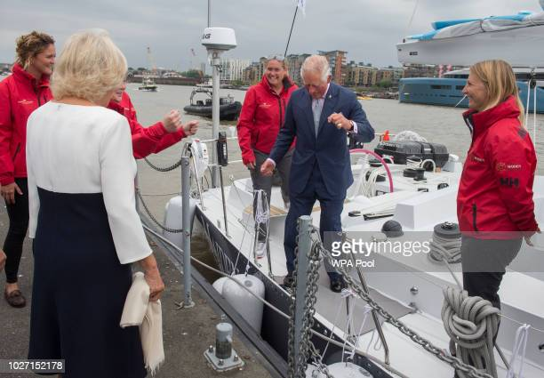 Prince Charles Prince of Wales and Camilla Duchess of Cornwall during their visit to the newly refurbished 'Maiden' Yacht on September 5 2018 in...