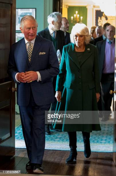 Prince Charles Prince of Wales and Camilla Duchess of Cornwall during a reception at Hillsborough Castle on April 9 2019 in Belfast Northern Ireland