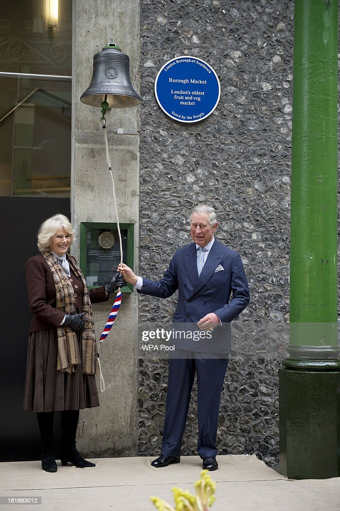 Prince Charles, Prince of Wales and Camilla, Duchess of Cornwall during a visit to Borough Market on February 13, 2013 in London, England.