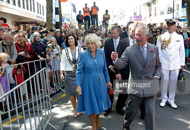 Prince Charles, Prince of Wales and Camilla, Duchess of Cornwall during their public walkabout on November 7, 2015 in Nelson, New Zealand. The Royal...