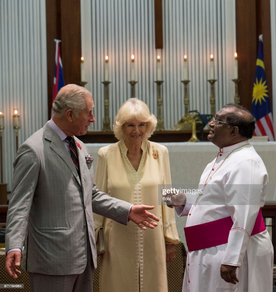 Prince Charles, Prince of Wales and Camilla, Duchess of Cornwall during a visit to St George & Otilde's Church on November 7, 2017 in Penang, Malaysia. Prince of Wales and Camilla, Duchess of Cornwall are on a tour of Singapore, Malaysia, Brunei and India.