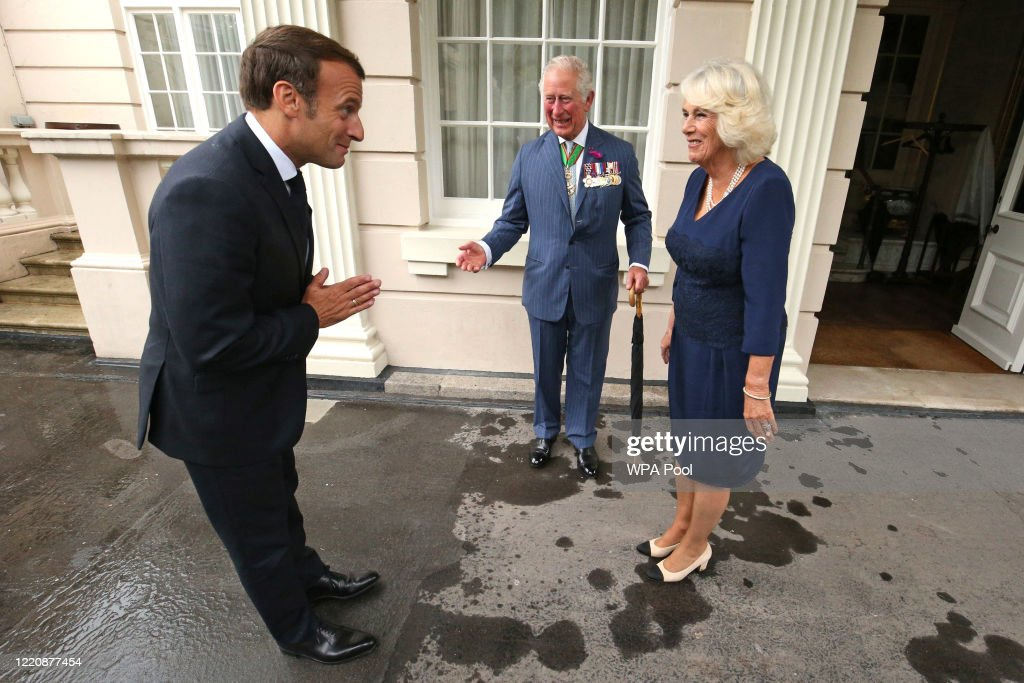 The Prince Of Wales And The Duchess of Cornwall Receive President Macron To Commemorate The Appeal of The 18th June Speech By Charles De Gaulle : News Photo