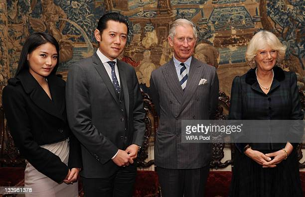 Prince Charles Prince of Wales and Camilla Duchess of Cornwall greet King Jigme Khesar Namgyel Wangchuk and Queen Jetsun Pema Wangchuk of Bhutan at...
