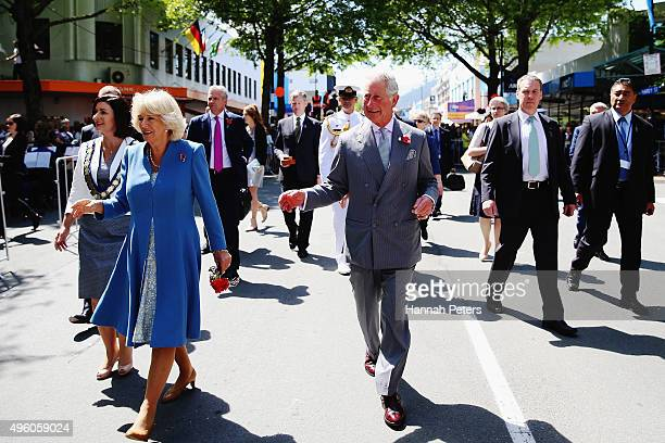Prince Charles, Prince of Wales and Camilla, Duchess of Cornwall greet fans during a walk through Nelson on November 7, 2015 in Nelson, New Zealand....