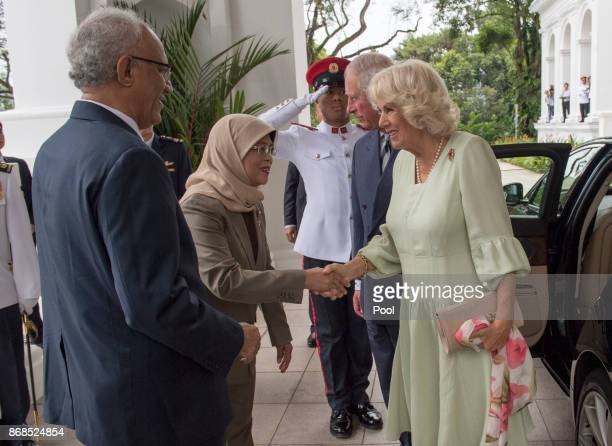 Prince Charles Prince of Wales and Camilla Duchess of Cornwall greet Singapore President Halimah Yacob and her husband Mohamed Abdullah Alhabshee as...