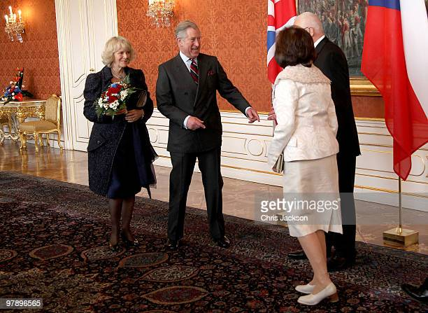 Prince Charles Prince of Wales and Camilla Duchess of Cornwall greet President of the Czech Republic Vaclav Klaus and his wife Livia Klausova at...