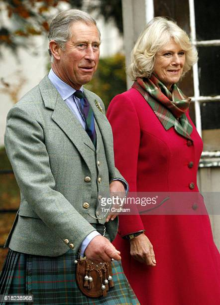 Prince Charles Prince of Wales and Camilla Duchess of Cornwall happy and relaxed couple at their Scottish home Birkhall wear tartan outfits