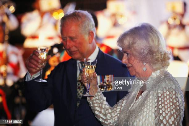 Prince Charles Prince of Wales and Camilla Duchess of Cornwall have a drink as they attend a reception at the Prime Minister's residence during their...
