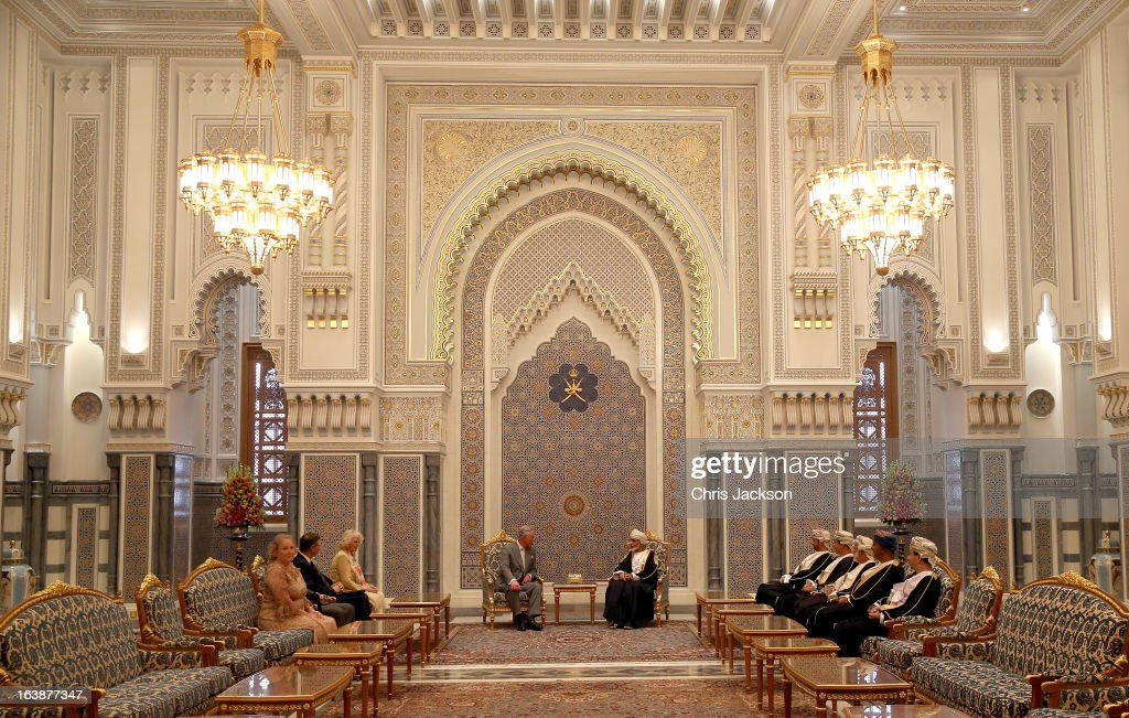 Prince Charles, Prince of Wales and Camilla, Duchess of Cornwall (L) have an audience with the Sultan of Oman Qaboos bin Said Al Saidat at the Sultan's Palace at Bayt al Baraka on the seventh day of a tour of the Middle East on March 17, 2013 in Muscat, Oman. The Royal couple are on the fourth and final leg of a tour of the Middle East taking in Jordan, Qatar, Saudia Arabia and Oman.