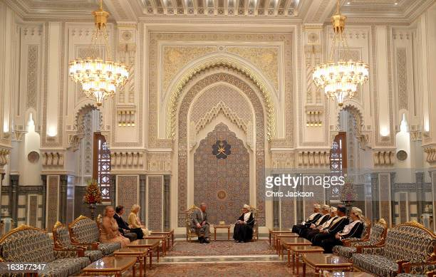 Prince Charles Prince of Wales and Camilla Duchess of Cornwall have an audience with the Sultan of Oman Qaboos bin Said Al Saidat at the Sultan's...