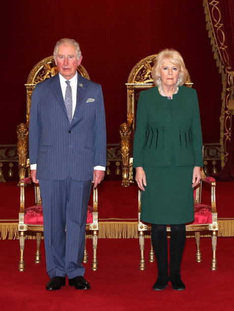 Prince Charles Prince of Wales and Camilla Duchess of Cornwall in the Ballroom during the The Queen's Anniversary Prizes at Buckingham Palace on...