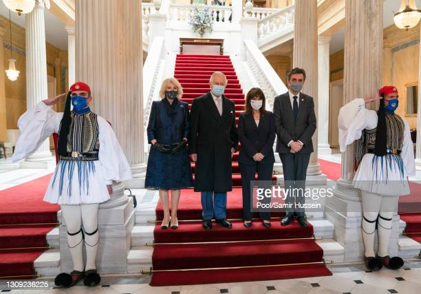 Prince Charles, Prince of Wales and Camilla, Duchess of Cornwall join the President of the Hellenic Republic, Katerina Sakellaropoulou, and Mr....