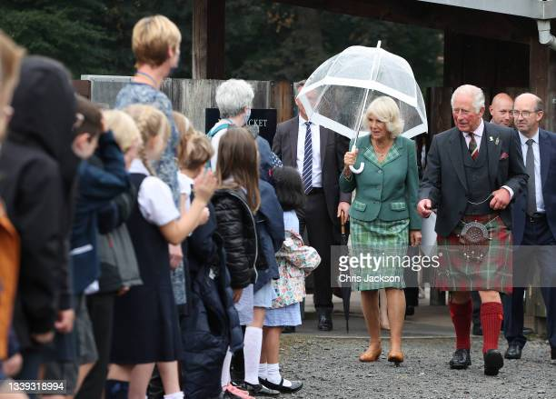 Prince Charles, Prince of Wales and Camilla, Duchess of Cornwall known as the Duke and Duchess of Rothesay when in Scotland, visits Alloway...