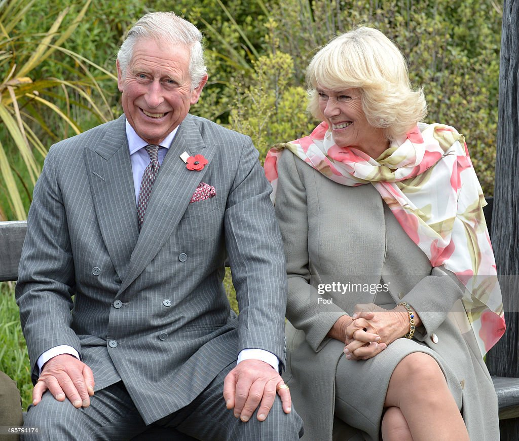 Prince Charles, Prince of Wales and Camilla, Duchess of Cornwall laugh during a visit to the Orokonui Ecosanctuary on November 5, 2015 in Dunedin, New Zealand. The Royal couple are on a 12-day tour visiting seven regions in New Zealand and three states and one territory in Australia.
