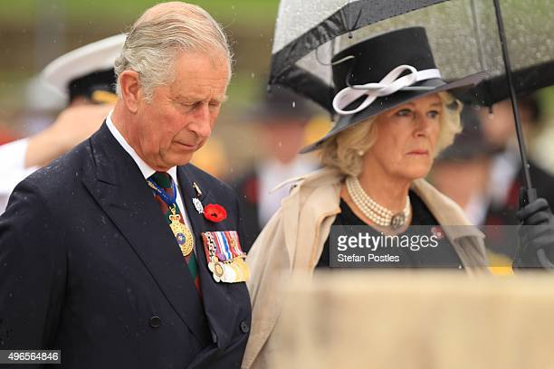 Prince Charles Prince of Wales and Camilla Duchess of Cornwall lay a wreath at the Stone of Remembrance during the Remembrance Day Ceremony at the...
