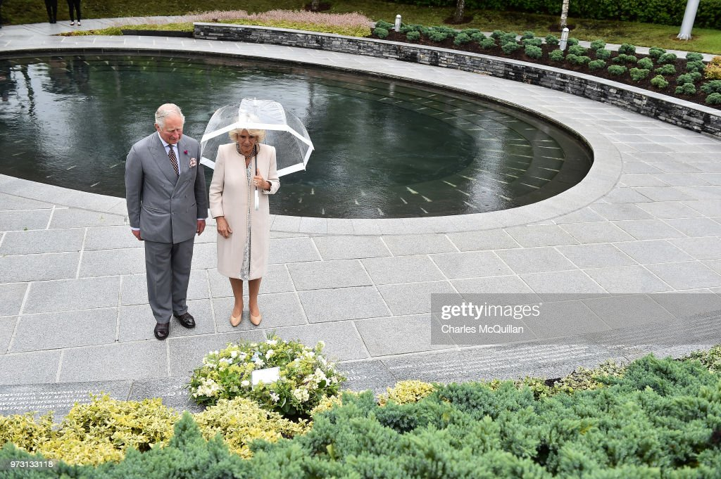 Prince Charles, Prince of Wales and Camilla, Duchess of Cornwall lay a wreath to mark the 20th anniversary of the Omagh bombing at Memorial Garden and Strule Arts Centre on June 13, 2018 in Omagh, Northern Ireland. The Prince of Wales and Duchess of Cornwall are paying a four day visit to Northern Ireland and the Republic of Ireland.