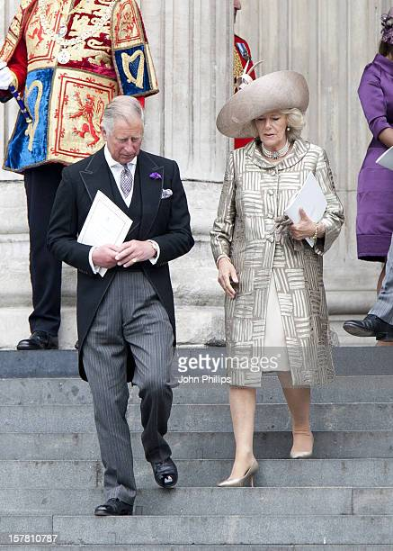Prince Charles Prince Of Wales And Camilla Duchess Of Cornwall Leave A Service Of Thanksgiving At St Paul'S Cathedral In London