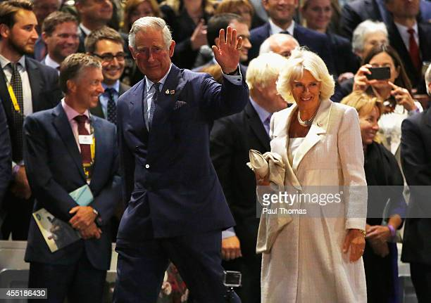 Prince Charles Prince of Wales and Camilla Duchess of Cornwall leave the opening ceremony for the Invictus Games presented by Jaguar Land Rover at...