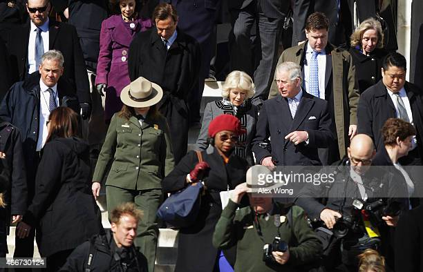 Prince Charles Prince of Wales and Camilla Duchess of Cornwall leave the Lincoln Memorial after a visit March 18 2015 in Washington DC The Royal...