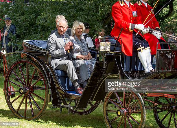 Prince Charles Prince of Wales and Camilla Duchess of Cornwall leave after a visit to The Sandringham Flower Show at Sandringham House on July 27...