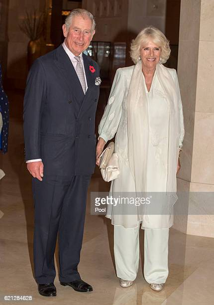 Prince Charles Prince of Wales and Camilla Duchess of Cornwall leave the Al Bustan Palace Hotel to attend an official dinner on November 5 2016 in...