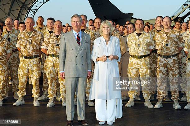 Prince Charles Prince of Wales and Camilla Duchess of Cornwall meet a detachment of RAF Tornado aircrew and RAAF aircrew when they visit the US...