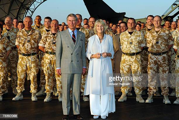 Prince Charles Prince of Wales and Camilla Duchess of Cornwall meet a detachment of RAF Tornado aircrew and RAAF Australian aircrew during a visit to...