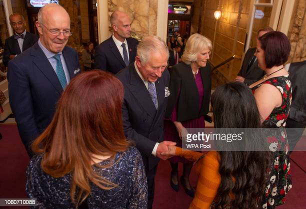 Prince Charles Prince of Wales and Camilla Duchess of Cornwall meet young Princes' Trust beneficiaries after attending a one off performance of 'We...