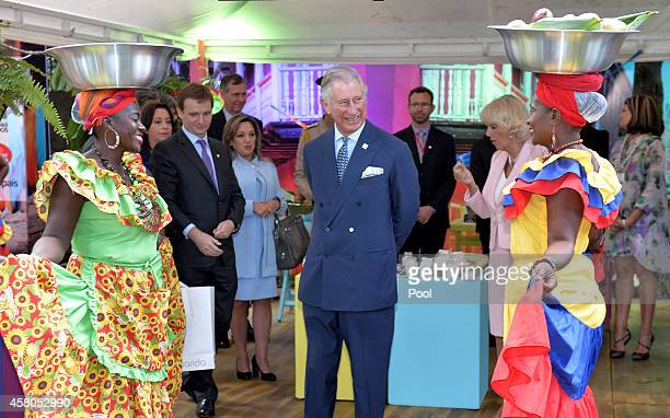 Prince Charles Prince of Wales and Camilla Duchess of Cornwall meet Carribbean Themed guests at a Sustainability Fair at the Ambassador's Residence...