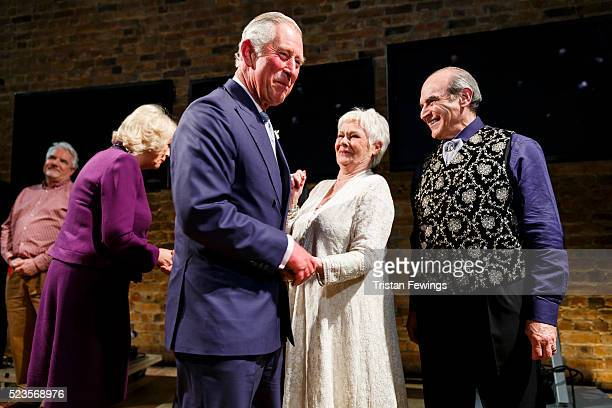 Prince Charles Prince of Wales and Camilla Duchess of Cornwall meet Dame Judi Dench and David Suchet backstage following the performance of...