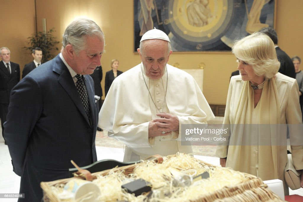 Prince Charles, Prince of Wales and Camilla, Duchess of Cornwall meet Pope Francis at the Vatican on April 4, 2017 in Vatican City, Vatican. The royal couple is in Italy for a five-day visit during which they visited the city of Florence, Camilla visited the city of Naples and the ancient archaeological site of Herculaneum, while Prince Charles, visited Amatrice, the town devastated by a 6.0 magnitude earthquake and where 297 people died last summer.