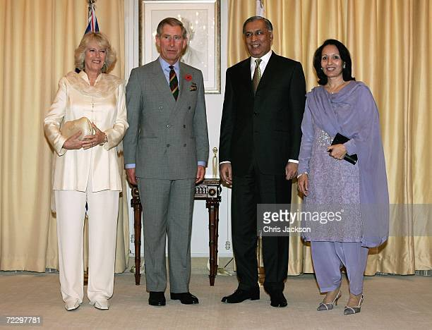 Prince Charles Prince of Wales and Camilla Duchess of Cornwall meet Prime Minister Shaukat Aziz and his wife Rukhsana Aziz before visiting a Youth...