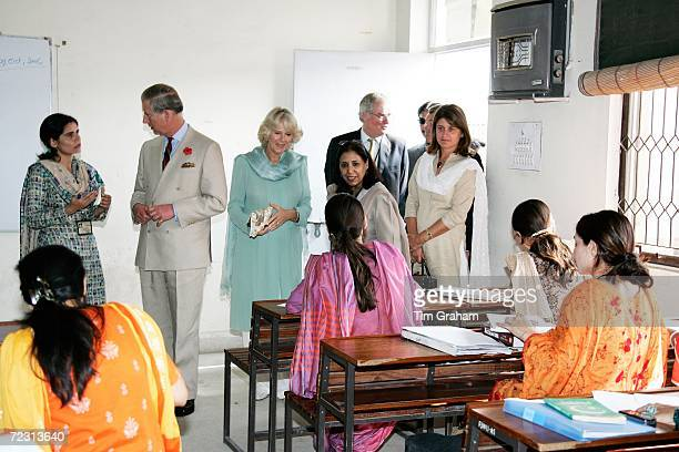 Prince Charles Prince of Wales and Camilla Duchess of Cornwall meet staff and students at the all female Fatima Jinnah University on October 31 2006...