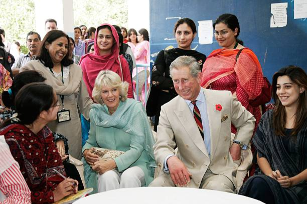 Prince Charles Prince of Wales and Camilla Duchess of Cornwall meet staff and students at the all female Fatima Jinnah University on October 31 2006..