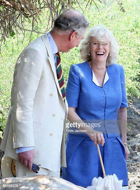Prince Charles Prince of Wales and Camilla Duchess of Cornwall meet giant tortoises during a tour of the Darwin Research Station on Santa Cruz Island...