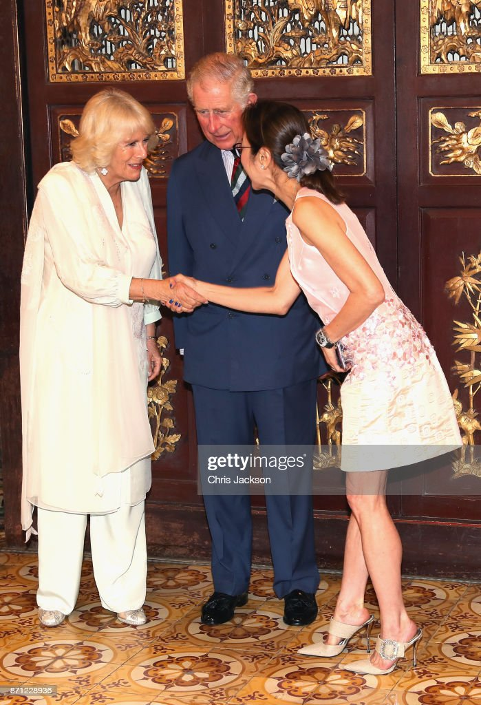 Prince Charles, Prince of Wales and Camilla, Duchess of Cornwall meet Malaysian actress Michelle Yeoh as they arrive at Penang's Peranakan Mansion to attend a reception to celebrate Malaysian art and culture on November 7, 2017 in Penang, Malaysia. Prince Charles, Prince of Wales and Camilla, Duchess of Cornwall are on a tour of Singapore, Malaysia, Brunei and India.