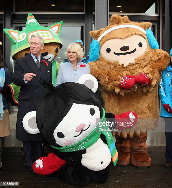 Prince Charles, Prince of Wales and Camilla, Duchess of Cornwall meet the 2010 Olympic Mascots, Miga the Sea Bear, Quatchi the Sasquatch and Sumi the...