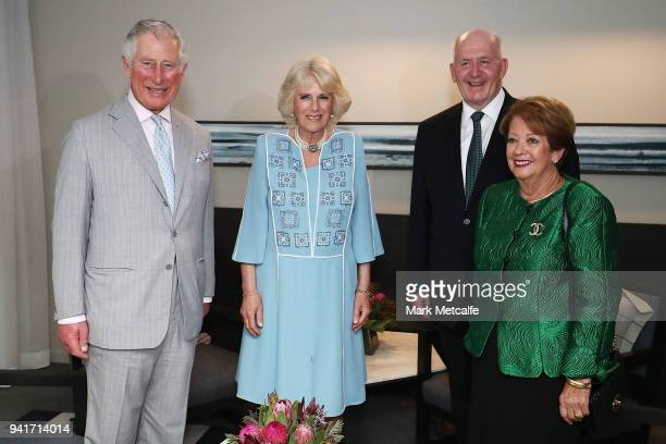 Prince Charles, Prince of Wales and Camilla, Duchess of Cornwall meet the Governor-General Sir Peter Cosgrove and Lady Cosgrove at the Sheraton Grand...