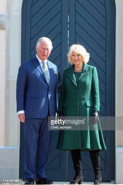 Prince Charles Prince of Wales and Camilla Duchess of Cornwall on the steps of the summer house during the reopening of Hillsborough Castle on April...