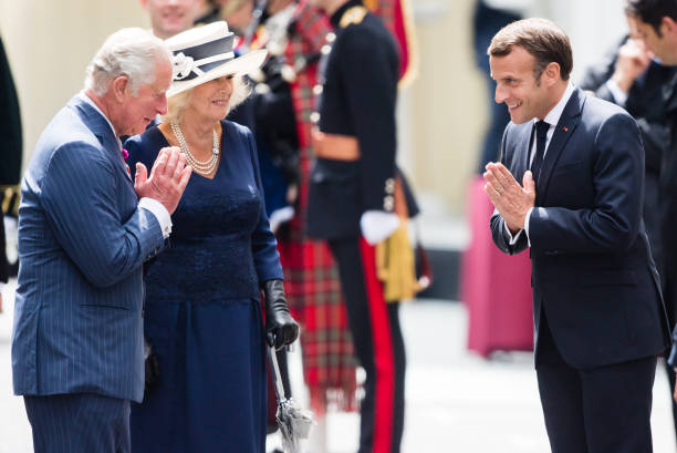 GBR: The Prince Of Wales And The Duchess of Cornwall Receive President Macron To Commemorate The Appeal of The 18th June Speech By Charles De Gaulle