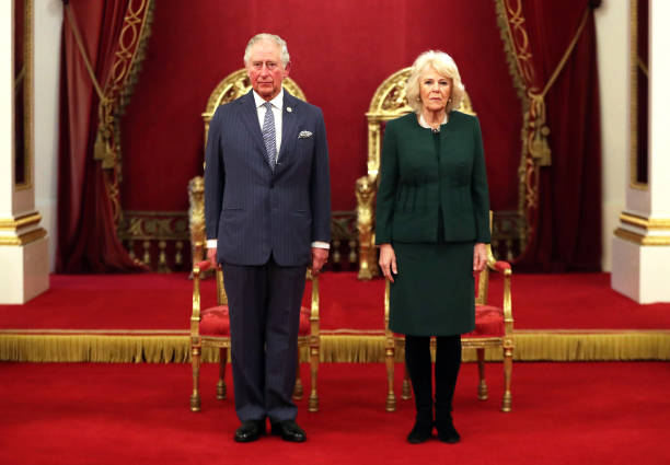 Prince Charles Prince of Wales and Camilla Duchess of Cornwall pose in the Ballroom during the The Queen's Anniversary Prizes at Buckingham Palace on...