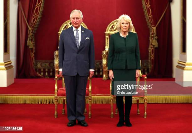 Prince Charles, Prince of Wales and Camilla, Duchess of Cornwall pose in the Ballroom during the The Queen's Anniversary Prizes at Buckingham Palace...