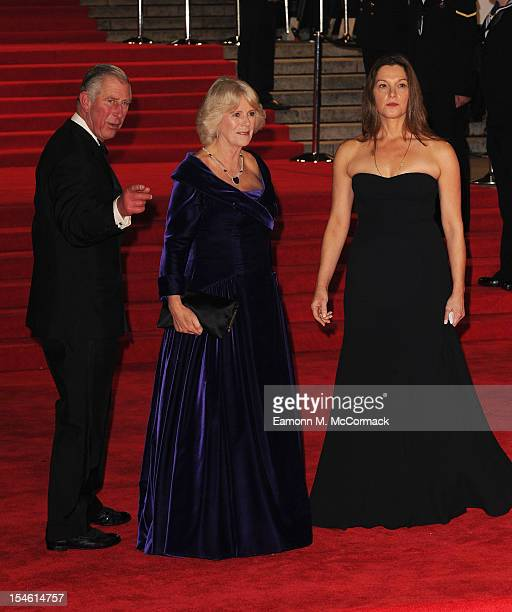 Prince Charles Prince of Wales and Camilla Duchess of Cornwall pose with Producer Barbara Broccoli at the Royal World Premiere of 'Skyfall' at the...